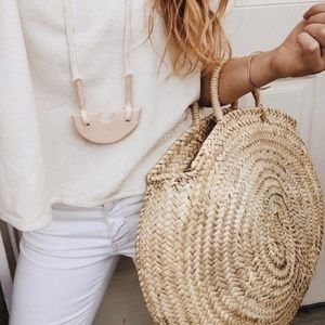 Handmade French Moroccan Round Rattan Tote